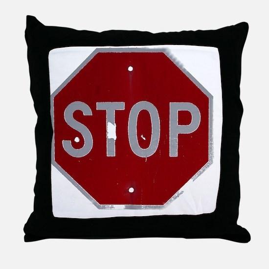 stop1-black Throw Pillow
