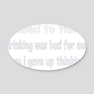thinking-black Oval Car Magnet