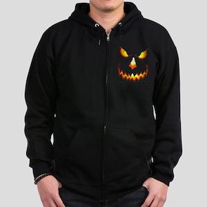 pumpkinface-black Zip Hoodie (dark)