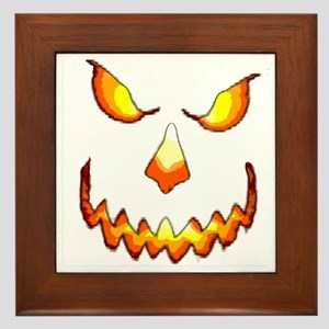 pumpkinface-black Framed Tile