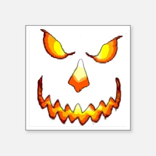 "pumpkinface-black Square Sticker 3"" x 3"""