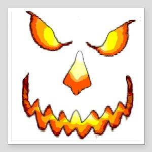 """pumpkinface-black Square Car Magnet 3"""" x 3"""""""