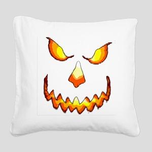 pumpkinface-black Square Canvas Pillow