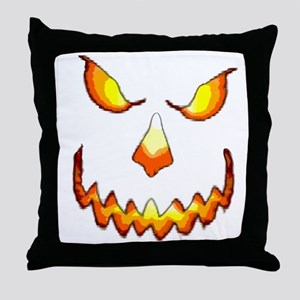 pumpkinface-black Throw Pillow