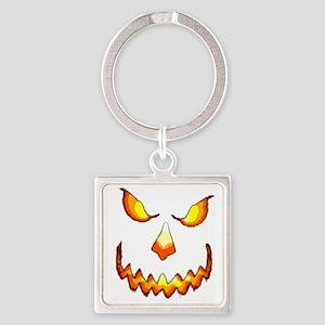 pumpkinface-black Square Keychain