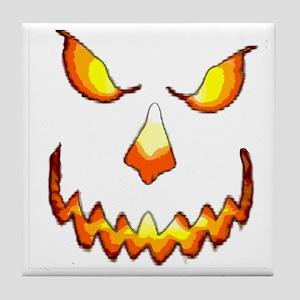 pumpkinface-black Tile Coaster