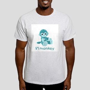 li'l monkey (teal) Ash Grey T-Shirt