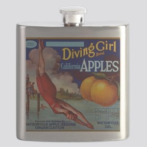 Diving Girl California Apples Flask