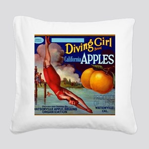 Diving Girl California Apples Square Canvas Pillow