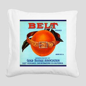 Belt Brand Oranges Square Canvas Pillow