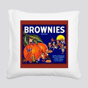 Brownies Brand Oranges Square Canvas Pillow