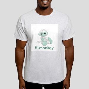 li'l monkey (green) Ash Grey T-Shirt