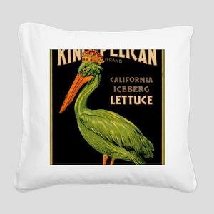 King Pelican Lettuce Square Canvas Pillow
