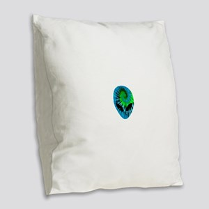 Tie Dye Alien Burlap Throw Pillow