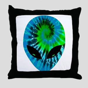 Tie Dye Alien Throw Pillow