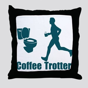 Coffee Trotter Throw Pillow