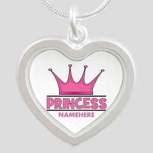 Custom Princess Silver Heart Necklace