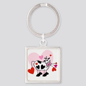 valentines cow Square Keychain