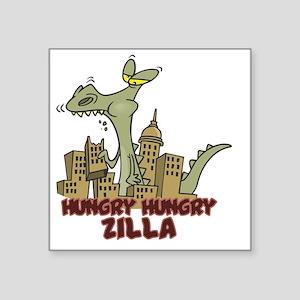 "hungry hungry Zilla Square Sticker 3"" x 3"""