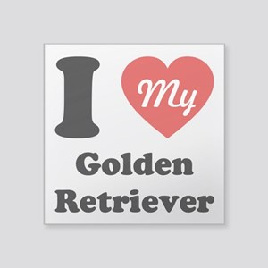 I Heart My Golden Retriever Square Sticker 3""