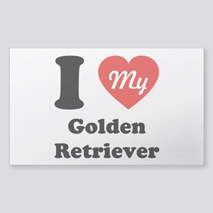 I Heart My Golden Retriever Sticker (Rectangle)