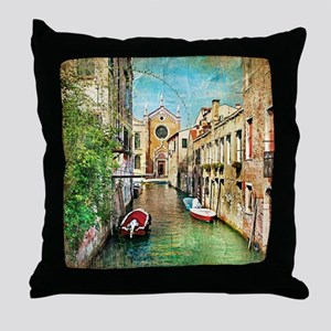 Vintage Venice Photo Throw Pillow