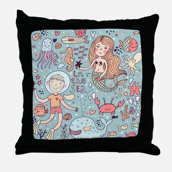 Whimsical Sea Life Throw Pillow