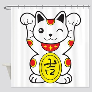 Maneki neko Lucky Cat Shower Curtain