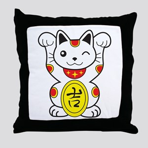 Maneki neko Lucky Cat Throw Pillow