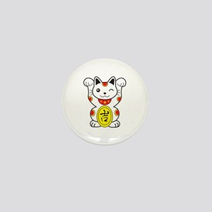 Maneki neko Lucky Cat Mini Button
