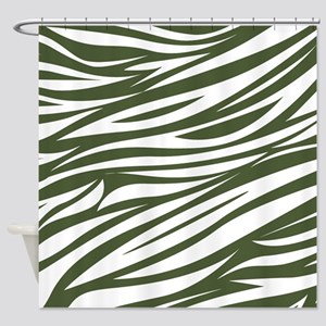 African Safari Dark Green Shower Curtain