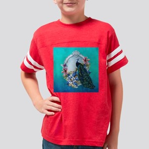 Peacock Design With Flowers D Youth Football Shirt