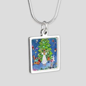 Nutcracker Christmas Ballet Silver Square Necklace