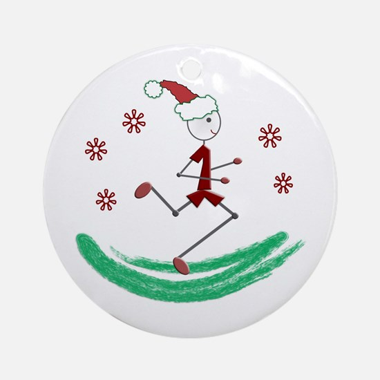 Holiday Runner Guy Round Ornament