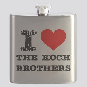 I Love The Koch Brothers Flask