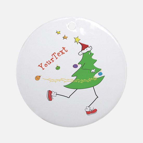 Customize Christmas Tree Runner Round Ornament