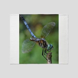 Blue Dasher Dragonfly Throw Blanket