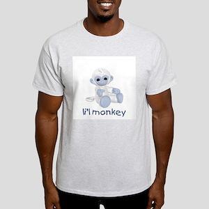 li'l monkey (lt blue) Ash Grey T-Shirt
