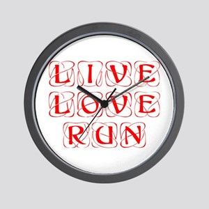 LIVE-LOVE-RUN-KON-RED Wall Clock