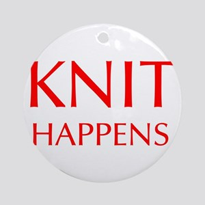 knit-happens-OPT-RED Ornament (Round)
