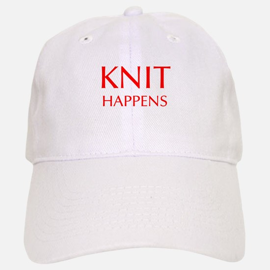 knit-happens-OPT-RED Baseball Baseball Baseball Cap