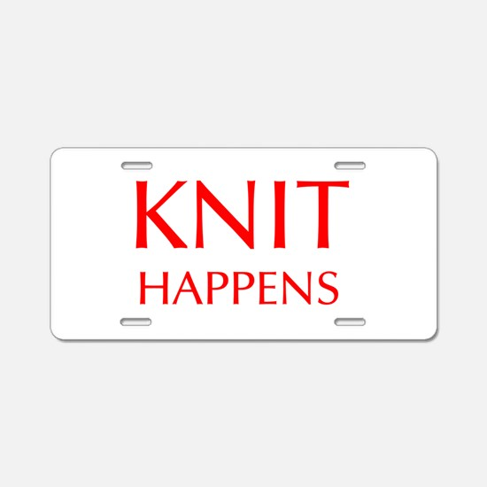 knit-happens-OPT-RED Aluminum License Plate