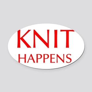 knit-happens-OPT-RED Oval Car Magnet