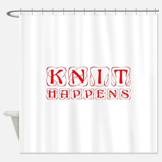 knit-happens-KON-RED Shower Curtain