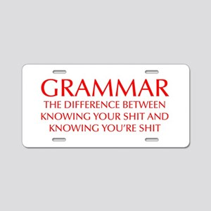 grammar-difference-OPT-RED Aluminum License Plate