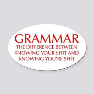 grammar-difference-OPT-RED Oval Car Magnet