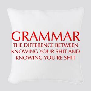 grammar-difference-OPT-RED Woven Throw Pillow