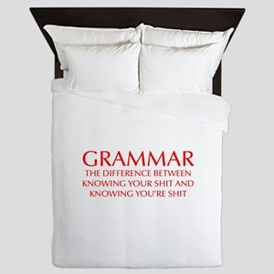 grammar-difference-OPT-RED Queen Duvet