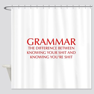 grammar-difference-OPT-RED Shower Curtain