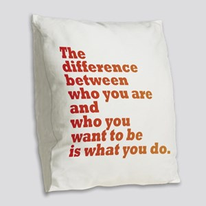 The Difference (red/orange) Burlap Throw Pillow